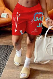 Red Fashion Casual Print Basic Loose Mid Waist Shorts