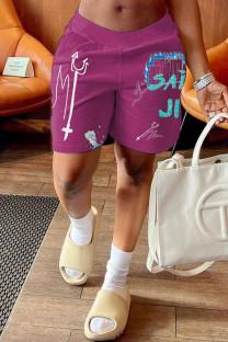 Purple Fashion Casual Print Basic Loose Mid Waist Shorts