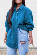 Blue Casual Solid Split Joint Buckle Turndown Collar Tops