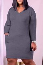 Grey Casual Solid Split Joint V Neck Pencil Skirt Plus Size Dresses