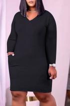 Black Casual Solid Split Joint V Neck Pencil Skirt Plus Size Dresses