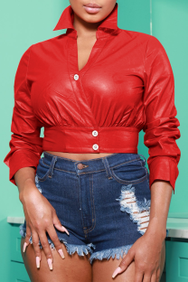 Red Sexy Solid Split Joint Turndown Collar Outerwear