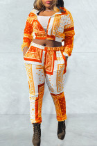 Tangerine Casual Print Split Joint Zipper Zipper Collar Long Sleeve Two Pieces