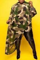 Army Green Sexy Print Split Joint Irregular Dress Plus Size Dresses