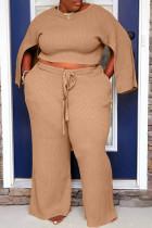 Khaki Casual Solid Slit O Neck Plus Size Two Pieces