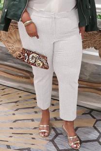 White Fashion Casual Plaid Print Basic Plus Size Trousers