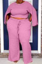 Pink Casual Solid Slit O Neck Plus Size Two Pieces