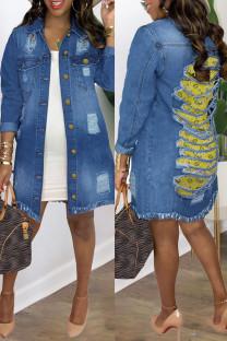 Deep Blue Fashion Casual Patchwork Printing Turndown Collar Long Sleeve Regular Denim Jacket