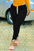Black Sexy Solid Split Joint Mid Waist Skinny Denim Jeans