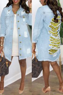 Light Blue Fashion Casual Patchwork Printing Turndown Collar Long Sleeve Regular Denim Jacket