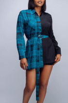 Peacock Blue Casual Plaid Print Split Joint Buckle With Belt Turndown Collar Tops