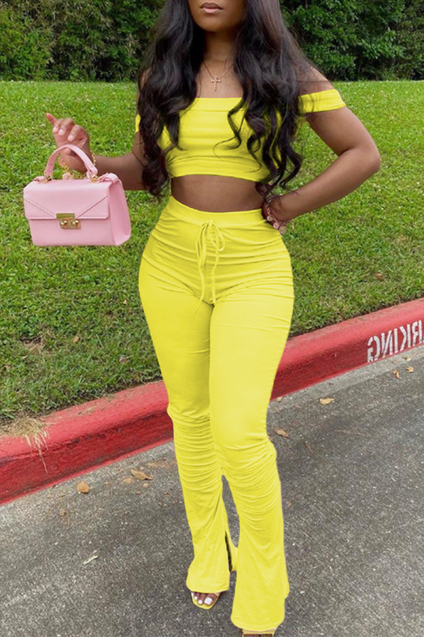 Yellow Sexy Solid Split Joint O Neck Short Sleeve Two Pieces