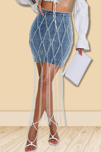 Blue Casual Solid Split Joint Chains Regular Denim Skirts