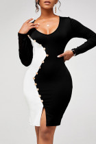 Black And White Sexy Solid Split Joint Buttons Asymmetrical  Contrast U Neck One Step Skirt Dresses