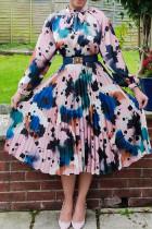 Blue Pink Elegant Print Split Joint Fold O Neck A Line Dresses(Without Belt)