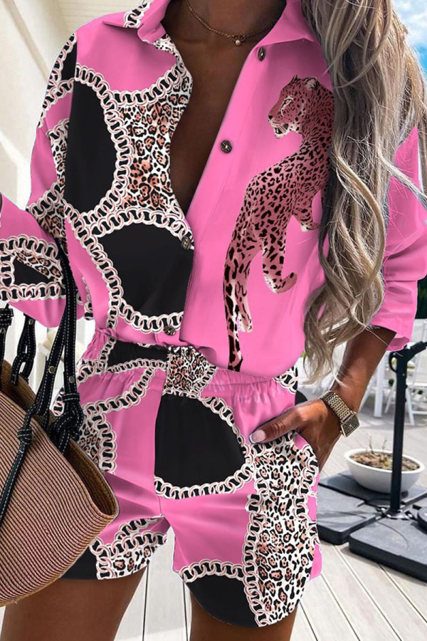 Pink Casual Print Make Old Buckle Turndown Collar Half Sleeve Two Pieces