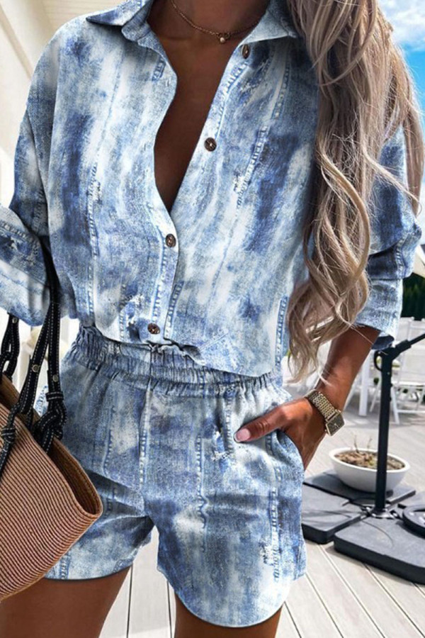 The cowboy blue Casual Print Make Old Buckle Turndown Collar Half Sleeve Two Pieces