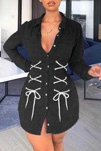 Black Fashion Street Solid Bandage Turndown Collar Long Sleeve Denim Jacket