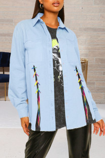 Light Blue Fashion Street Solid Bandage Turndown Collar Long Sleeve Denim Jacket