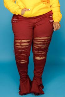 Burgundy Sexy Street Solid Ripped Split Joint High Waist Boot Cut Denim Jeans