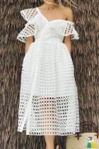 White Fashion Elegant Solid Hollowed Out Split Joint V Neck A Line Dresses