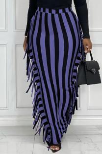 Black Purple Fashion Casual Striped Print Tassel Split Joint Regular High Waist Skirt