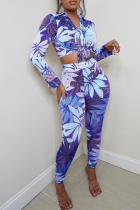 Blue Sexy Print Bandage Turndown Collar Long Sleeve Two Pieces