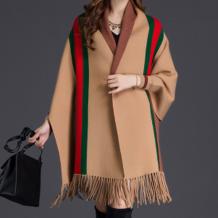 Camel Casual Street Striped Tassel Outerwear