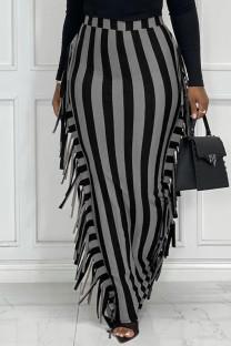 Black Gray Fashion Casual Striped Print Tassel Split Joint Regular High Waist Skirt