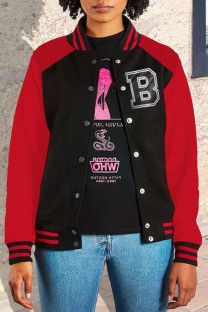 Red Black Casual Street Print Split Joint Outerwear