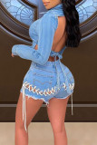 Sky Blue Sexy Street Hollowed Out Split Joint Frenulum Backless Asymmetrical Turndown Collar Long Sleeve Two Pieces