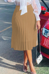Khaki Casual Elegant Solid Split Joint Fold Straight High Waist Type A Solid Color Bottoms