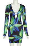 Green Fashion Sexy Print Hollowed Out V Neck Long Sleeve Dresses