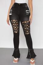 Black Fashion Street Patchwork Ripped High Waist Denim Jeans
