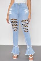 Baby Blue Fashion Street Patchwork Ripped High Waist Denim Jeans