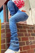 Medium Blue Fashion Street Solid High Waist Denim Jeans