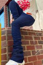 Deep Blue Fashion Street Solid High Waist Denim Jeans