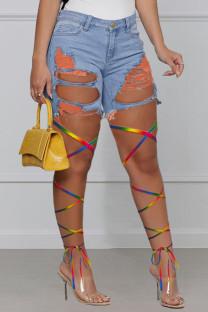 Orange Fashion Street Patchwork Ripped High Waist Denim Jeans