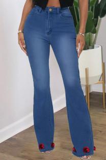Blue Fashion Street Solid Split Joint Plus Size Jeans