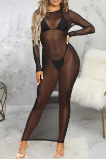 Black Fashion Sexy Solid See-through O Neck Long Sleeve Mesh Sunscreen Beach Dress