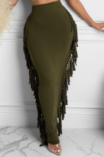 Olive Green Sexy Solid Tassel Skinny Mid Waist Pencil Solid Color Bottoms