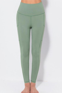 Gray Green Casual Sportswear Solid Split Joint Skinny High Waist Pencil Solid Color Bottoms