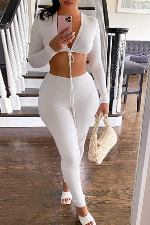 White Sexy Solid Split Joint V Neck Long Sleeve Two Pieces
