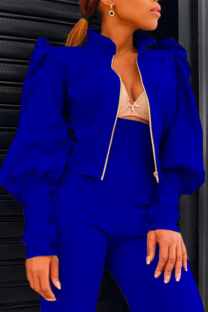 Blue Casual Solid Split Joint Zipper Collar Long Sleeve Two Pieces
