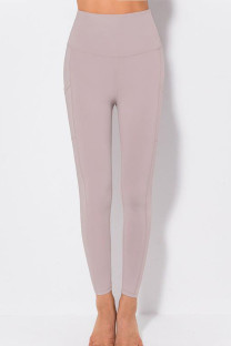 Red Bean Powder Casual Sportswear Solid Split Joint Skinny High Waist Pencil Solid Color Bottoms
