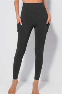 Black Casual Sportswear Solid Split Joint Skinny High Waist Pencil Solid Color Bottoms
