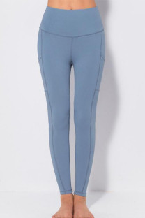 Gray Blue Casual Sportswear Solid Split Joint Skinny High Waist Pencil Solid Color Bottoms