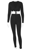 Black Sexy Solid Split Joint V Neck Long Sleeve Two Pieces