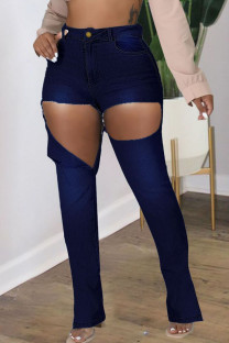 Deep Blue Fashion Street Solid Ripped Plus Size Jeans