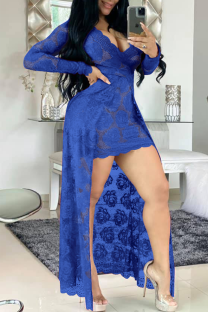Blue Sexy Patchwork Lace V Neck Irregular Dress Dresses